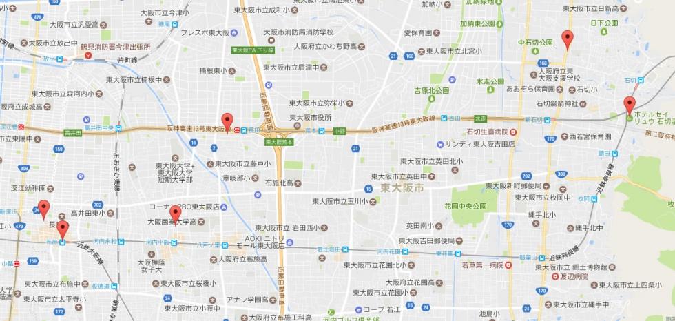 画像:登録した記事をGoogleマップに表示させた例